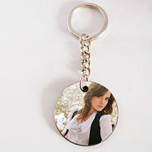 Round single side photo key chain