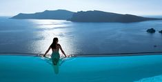 """The infinity pool at """"Perivolas"""" hotel on Santorini, is one of the most photographed hotel pools. Its enviable spot perched high on the cliffs above the Aegean Sea showcases jawdropping Aegean sunsets..."""