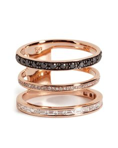 18kt Pink Gold 3 in 1 #Ring with Black and White #Diamonds by Nikos Koulis.  #Jewelry