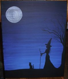 Solitude Primitive Witches Witchcraft Painting darkness Black Cats Samhain Solitary witch $27