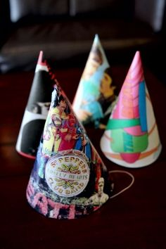 Mom bday - DIY Beatles party hats: Use a party hat for a template, print Beatles album art and trace hat, and assemble!