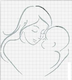 point de croix femme avec enfant , cross stitch woman with a child