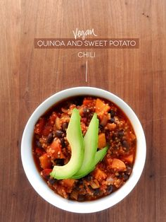Vegan Quinoa Sweet Potato Chili! Serve with avocado = yummy!