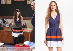 Jessica Day (Zooey Deschanel) wears this navy v-neck dress with belt and bright band details in this week's episode of New Girl.