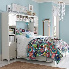 Hampton Storage Bed + Bookcase Tower Set #pbteen Too Pricey but good concept for storage around bed to leave room for desk+more storage