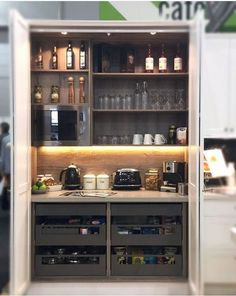 Reshape the DIY pantry: old pantry cupboard transformed into pantry cupboard – Own Kitchen Pantry Kitchen Larder Cupboard, Kitchen Pantry Design, Kitchen Interior, Kitchen Decor, Kitchen Ideas, Kitchen Living, New Kitchen, Mini Kitchen, Clever Kitchen Storage