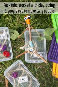 OUTDOOR FUN IDEA: STICK MAN KITS! Pack some little tubs with some clay, string and googly eyes and you have the basis for a brilliant creation – the kids just need to find a couple of twigs, bind them and decorate them to make their very own stick man to take home.