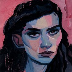 Female Study 3 by Richard Pellegrino- This painting depicts the portrait of a beautiful black haired woman with stern look and light brown eyes set to a pink background. Original on of a kind hand painted Acryla Gouache artwork by famous artist Richard Pellegrino.