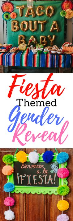 Fiesta Themed Gender Reveal for gender reveal ideas and gender reveal party. Even works for a cute baby shower idea or baby shower theme. Mexican Theme Gender Reveal.