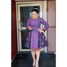 OOTD inspiration is a gorgeous and 'printastic' look by fashion and star actress and TV host, Monalisa Chinda Coker. The outfit consisted of a purple, long sleeved, knee length, military print dress from fashion brand, The Ladymaker and styled by popular stylist, Ezinne Chinkata.