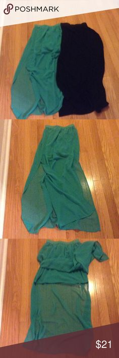 H & M Divided Skirts✨Lot of 2✨ Black & Green Skirts✨Green skirt is mini lined with slits on sides✨Shell & Lining is 100% Polyester ✨Black skirt has slits on sides, is not lined✨100% Viscose H & M Skirts Maxi