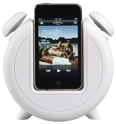 MP3 Alarm Clock Docking Station and Speakers - $59.95  A modern take on an old-school alarm clock, this dock serves as a clock, iPod charger and speaker. It's a great gift for a music-loving teenager with a tendency to sleep in.