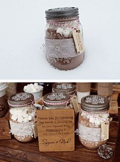 Great Winter Wedding Favor: Thank you for warming our hearts  joining us on Our Special Day. Please enjoy a Hot Chocolate Favor. All you need is a jar, some hot chocolate mix, marshmallows, ribbon, and an ornament. Check out Dollar Tree first and see how inexpensive this chic favor can be!