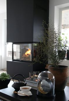 , considering a new color on the fireplace. Interior Styling, Interior Design, Living Spaces, Living Room, Decoration, Brown And Grey, Architecture Design, Furniture Design, Sweet Home