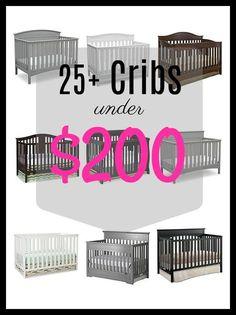 Mega list of convertible cribs - all under $200 #baby #cribs #convertible