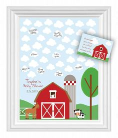 Baby Shower Guest 16x20 Sign-In Poster - Farm Theme Baby Shower Guest Book Alternative - 45 Clouds - Farm Animals Baby Nursery Wall Art by KreationsbyMarilyn on Etsy