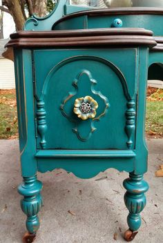 Refinished Antique Vanity in Teal