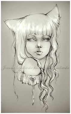 Fox girl by *Ladowska on deviantART- I love this drawling it looks to be done in maybe charcoal or made to look that way- it has such nice highlights