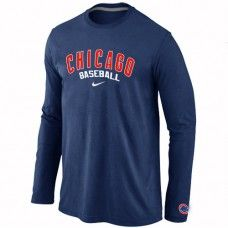 Wholesale Men Chicago Cubs Authentic Team Name Long Sleeve Dark Blue T-Shirt_Chicago Cubs T-Shirt