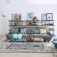 Rechthoekige salontafel in gehard glas Sybil AM. Am Pm La Redoute, Paris Flat, Large Coffee Tables, Structure Metal, Messing, Outdoor Furniture Sets, Couch, Living Room, Interior Design