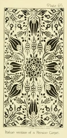 Nature in Ornament (1892) by Lewis F Day.Plate 65. ITALIAN VERSION OF A PERSIAN CARPET - rose and  tulip - S.K.M.