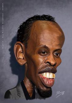 Caricatura de Barkhad Abdi  (Diễn viên người Somali. Trong film Thuyền trưởng Phillips)