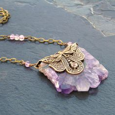 Amethyst Druzy Necklace February Birthstone by lovelandshadetree, $46.00