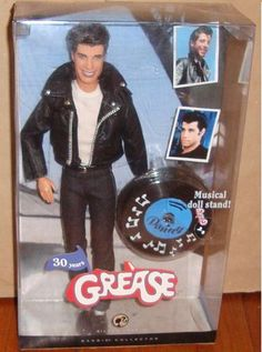 Danny Zuko (John Travolta) of Grease Barbie Collector Series Doll by Mattel Barbie 2000, Barbie I, Vintage Barbie Dolls, Barbie World, Barbie Funny, Danny Zuko Grease, Poupées Barbie Collector, Gi Joe, Celebrity Barbie Dolls