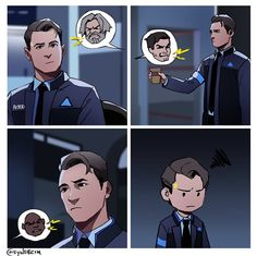 """First day at the station"" by syndecim on Twitter. Detroit become human Connor"