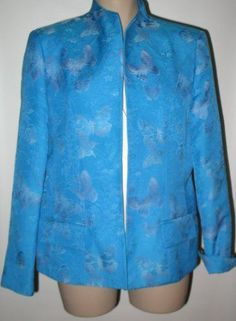 New AUSTIN REED Brocade Butterfly Motif Dressy Jacket - Turquoise/Periwinkle14  #AustinReed #BrocadeJacket