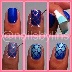 nail art tutorials, color, manicur, nail arts, nail tutorials, gradient nails, tape, design, blue nails