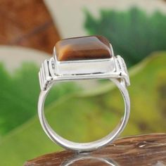 925 STERLING SILVER YELLOW TIGER EYE EXCLUSIVE RING JEWELRY 6.25g DJR10560 SZ-7…