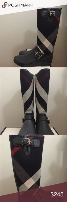 WM's SZ 8-9 Blk & Red Burberry Housecheck Rainboot ALWAYS AUTHENTIC  Please don't offer to trade, nor for that matter, a different payment method. But please feel free to message me any questions or offers! I'm very opened to working something out with you :)  Retail: $375 Purchased: Burberry - $375 + tax = $400  Condo: 9/10 -fits true to size (can also fit men's 7-7.5)  Flaws: Could use a little cleaning overall, has expected dirt stains  Not come in original dust bag, box with receipt was…