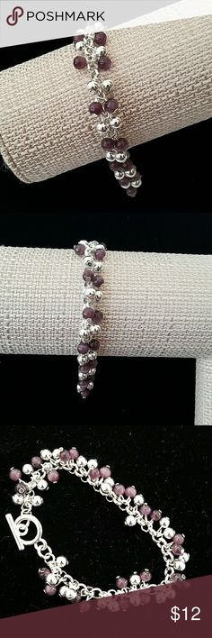 Fashion Bracelet Beautiful brand new without tag fashion beaded bracelet. Silver and grape color. Jewelry Bracelets