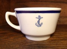 WWII Navy SHENANGO CHINA Officers Mess WARDROOM Blue Anchor & Band Coffee Cup
