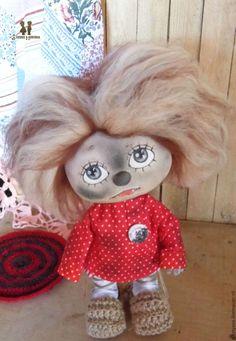 Купить Домовенок Кузя, чумазый. Авторская текстильная интерьерная кукла - ярко-красный, Домовенок Кузя