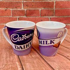 RARE CADBURY'S DAIRY MILK CHOCOLATE LARGE PURPLE & LILAC PROMO MUGS PAIR LOOK 👀 Cadbury Dairy Milk Chocolate, Purple Lilac, Mug Cup, Cups, Pairs, Tea, Coffee, Tableware, Kaffee