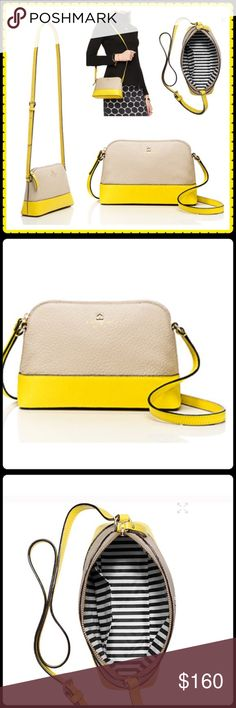 ✨ ♠️KATE SPADE CROSS BODY♠️✨ Authentic Southport Avenue Hanna Cross body in yellow and tan. Chunky pebbled cowhide and library strip lining. 14 karat light gold plated hardware. Has a zip top closure an a adjustable strap and an interior side pocket. BRAND NEW...  No low ball offers please. kate spade Bags Crossbody Bags