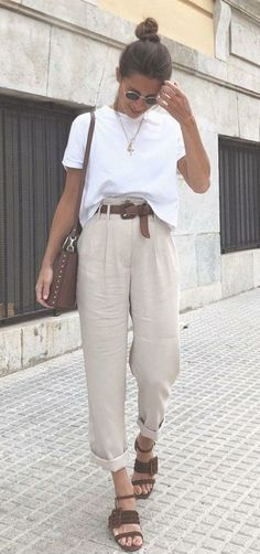 Batch 1453 / Beige Loose Pants + Brown Sandals + white shirt summer outfits - New Hair Style Mode Outfits, Casual Outfits, Fashion Outfits, Women's Casual, Casual Summer Style, Classic Outfits, Vintage Summer Style, T Shirt Fashion, Casual Summer Clothes