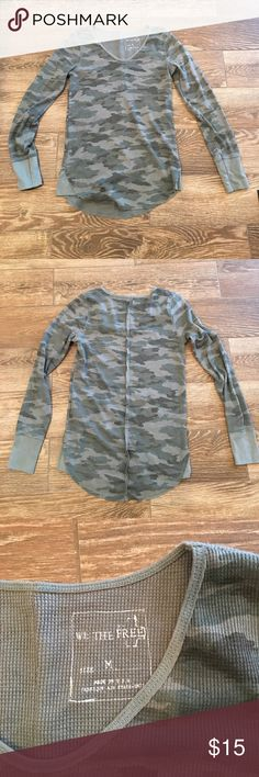 We the Free thermal We the Free camo thermal. Gently worn and good condition. No stains or tears. Free People Tops Tees - Long Sleeve
