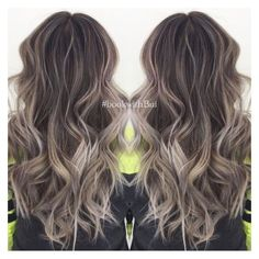 beautiful long dark brown hair with lots of cool tone ash blonde... ❤ liked on Polyvore featuring beauty products, haircare and hair styling tools