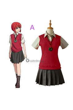 The Ancient Magus' Bride Chise Hatori Red Green Cosplay Costume