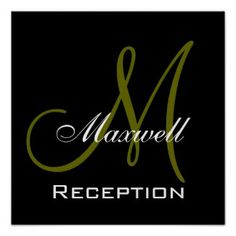 Monogram and Name Wedding Reception Sign Posters