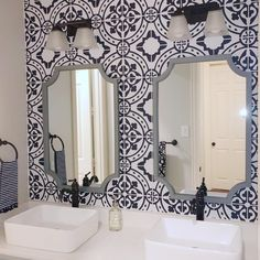 Moroccan Tile Peel and Stick Wallpaper removable wallpaper | Etsy Bathroom Wallpaper Modern, Look Wallpaper, Future Wallpaper, Tile Wallpaper, Kitchen Wallpaper, Textured Wallpaper, Peel And Stick Wallpaper, Textured Walls, Wallpaper Designs