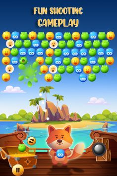 Play exciting and colorful simple bubble shooter game now. This is a classic simple bubble shooter with new features and a loving & friendly character Mr. Fixy Fox. Save your nature friends & collect the collectibles. The more you play you will get into deep with this game. You will enjoy its music and colorful bubbles. You will be addicted to its dreamy visuals. Kids love this, too. It's a matching knowledge learning for them with simple bubble shooter color matching. Bubble Shooter Games, Played Yourself, Game Ui, Game Design, Save Yourself, Bubbles, Activities, Friends, Simple