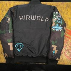 Rear Shot of our AIRWOLF BOMBER - Our embroidered patch game is strong - 1 of 2 bomber jacket styles - part of our new collection and online now - store link in our profile description - we ship worldwide ..... #stayrad . #renegaderiders . #skon #skonstyle #camo #moodygrams #neon #ukbikers #neonlights #retrofuture  #bladerunner #motorrad #motorad #strangerthings  #streetfashion #streetstyle #mensstyle #menswear #souvenirjacket #streetwear #fashionshoot  #80sstyle #80svibes  #rad #bikergang…