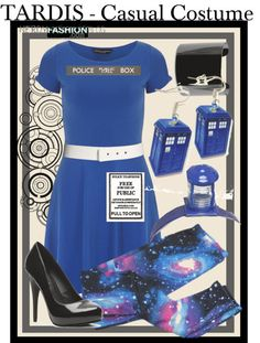 TARDIS | Doctor Who - Casual Costume by chelsealauren10   Dorothy Perkins cotton fit and flare dress / Transparent legging / Michael Antonio  shoes / Mango metal bracelet / Plastic earrings / ASOS white waist belt / Headband hair accessory / Doctor Who TARDIS Door Sign Patch / Large TARDIS Sign Fabric: Police Public Call Box / Doctor Who Gallifreyan Vinyl Sticker  Already have a cute blue dress, sleek black shoes, and a white belt (maybe even the popular galaxy leggings)? Purchase these ...