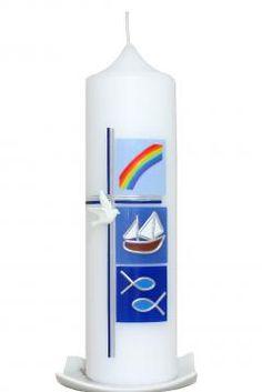 Taufkerze Kreuz mit Boot blau mit Karton