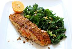 healthy eats: panko + pistachio-encrusted salmon with sautéd kale