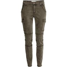 Lyocell-blend cargo trousers (€38) ❤ liked on Polyvore featuring pants, zip pocket pants, cargo pocket pants, pocket pants, zip cargo pants and zipper cargo pants